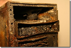 Computer after fire, courtesy pyroclastichawk under Creative Commons Attribution 2.0 Generic License
