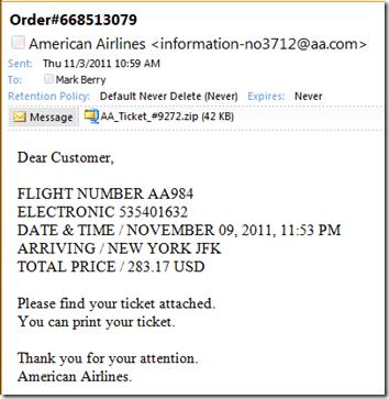 American Airlines ticket virus 1