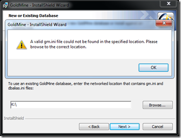 GoldMine Install Error 1