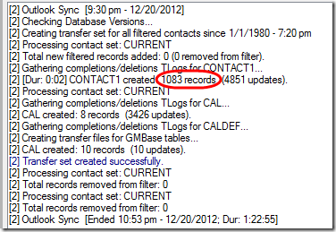 2.Outlook sync after updating filter's SQL clause