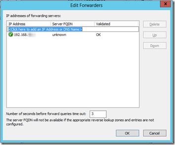 Server 2012E DNS Forwarders