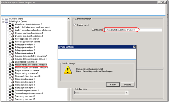 XProtect event error 1