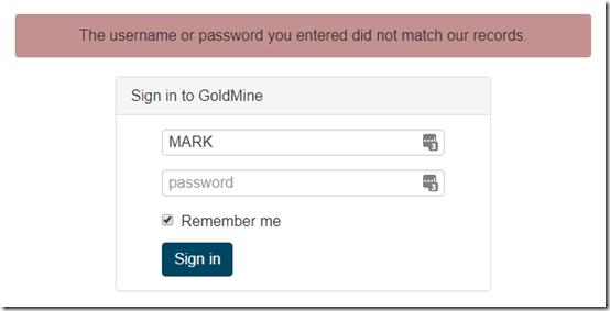 GoldMine web setup 1