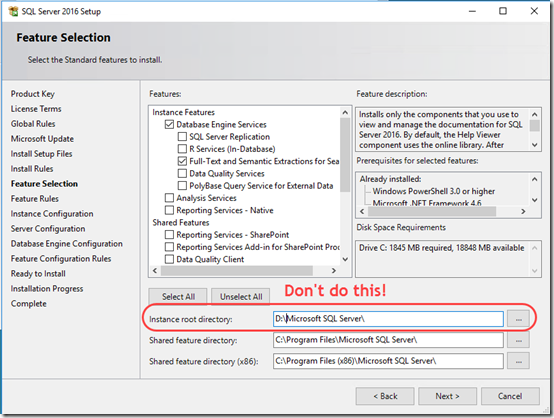 Install SQL 2016 with Data on a Separate Drive | MCB Systems