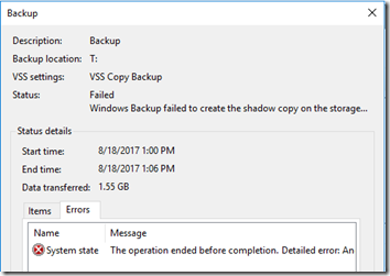 Backup Failure 1