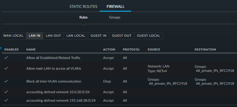 Control Inter-VLAN Communication with the UniFi USG Firewall