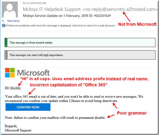 Phishing email 1