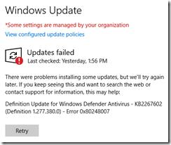 Windows Update transient error 2