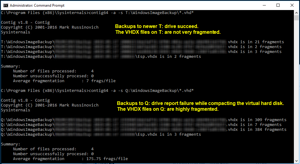 Failure Compacting the Virtual Hard Disk on the Backup