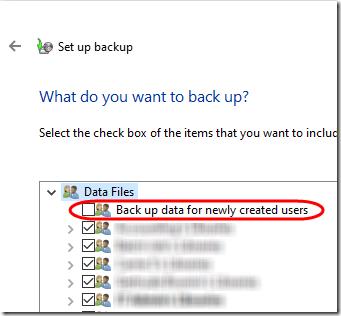 Windows Backup Selection