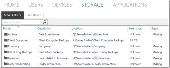 Server folders missing 1