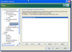 NOD32 Client HTTP exclusion