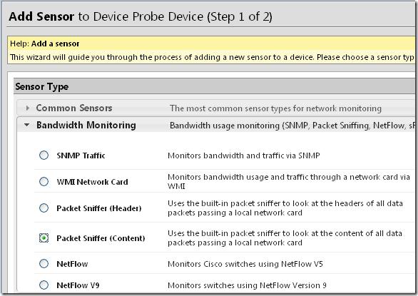 Monitoring.PRTG Add Sensor
