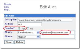 Sendmail root alias